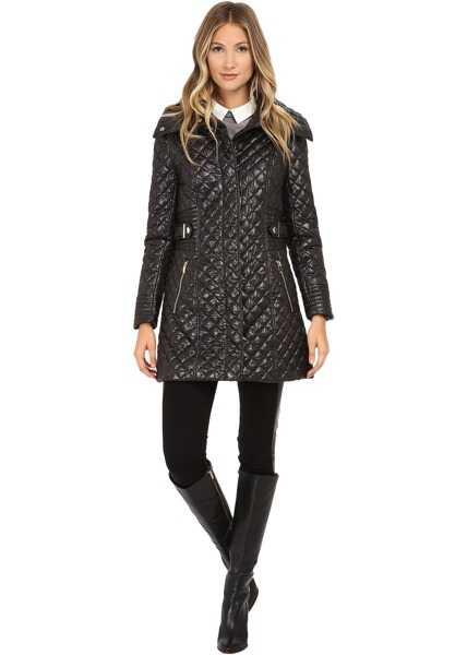 Geci Dama Via Spiga Hidden Zip Front Quilt Coat w/ Side Tab Detail