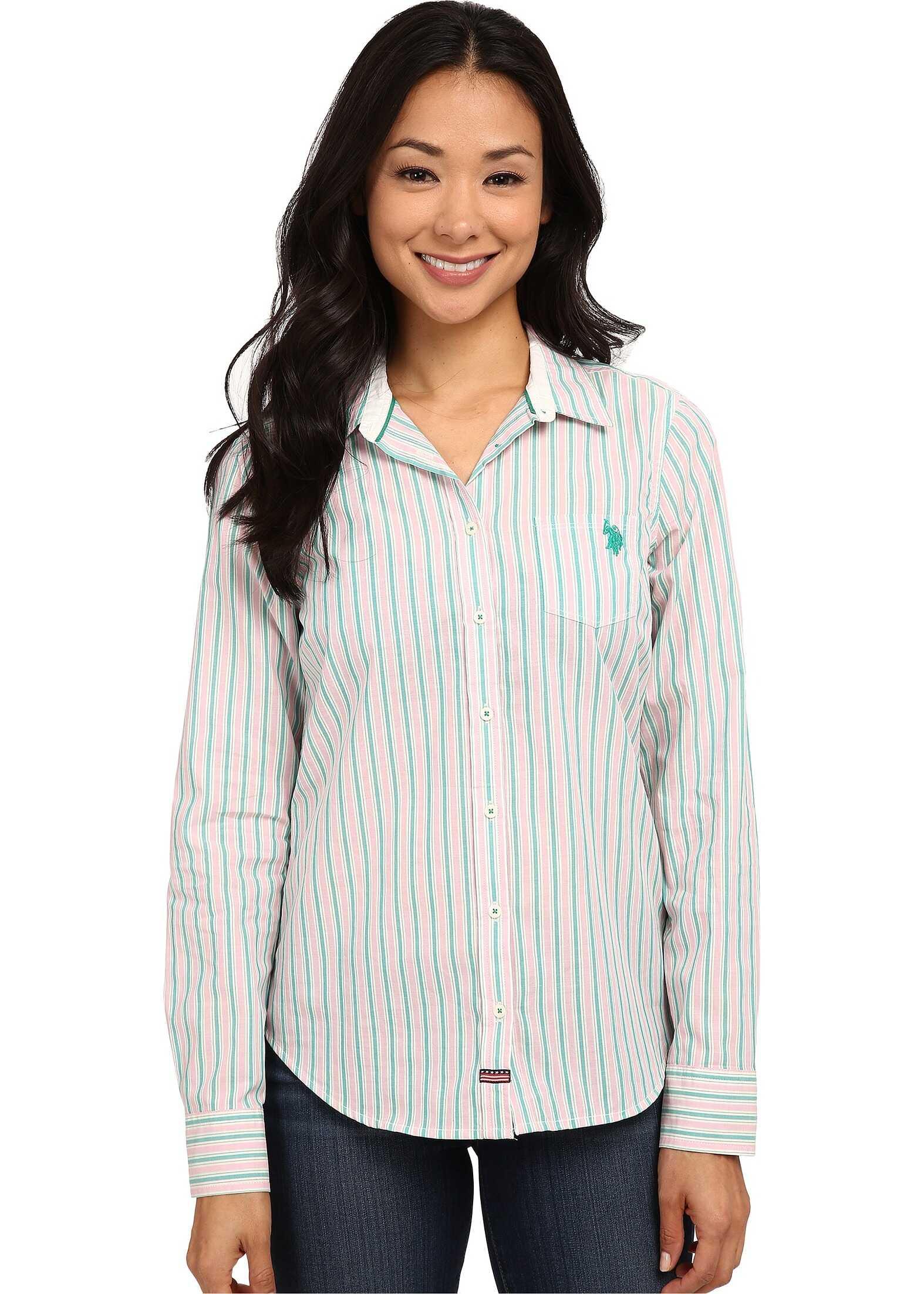 U.S. POLO ASSN. Striped Poplin Shirt Dynasty Green
