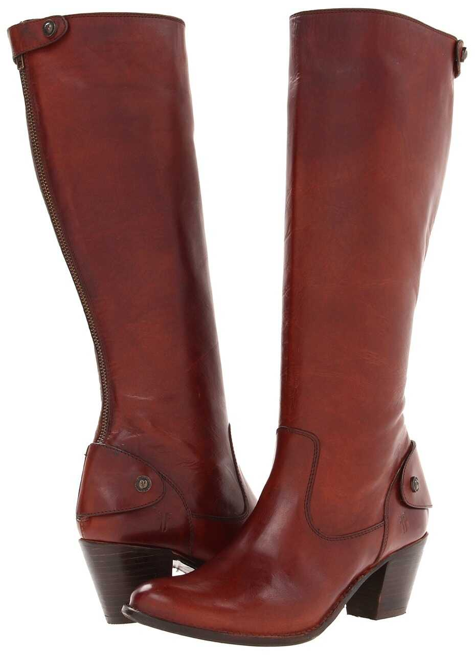 Frye Jackie Zip Tall Redwood Soft Vintage Leather