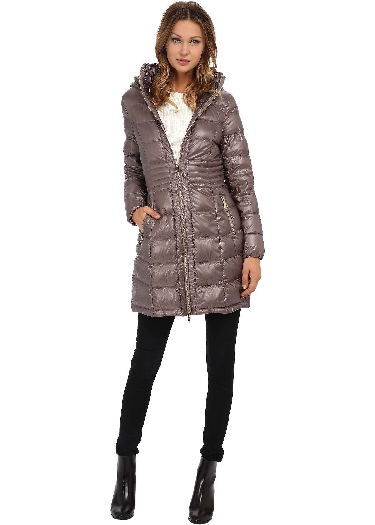 Via Spiga Metallic Hooded Packable Down Coat Desert