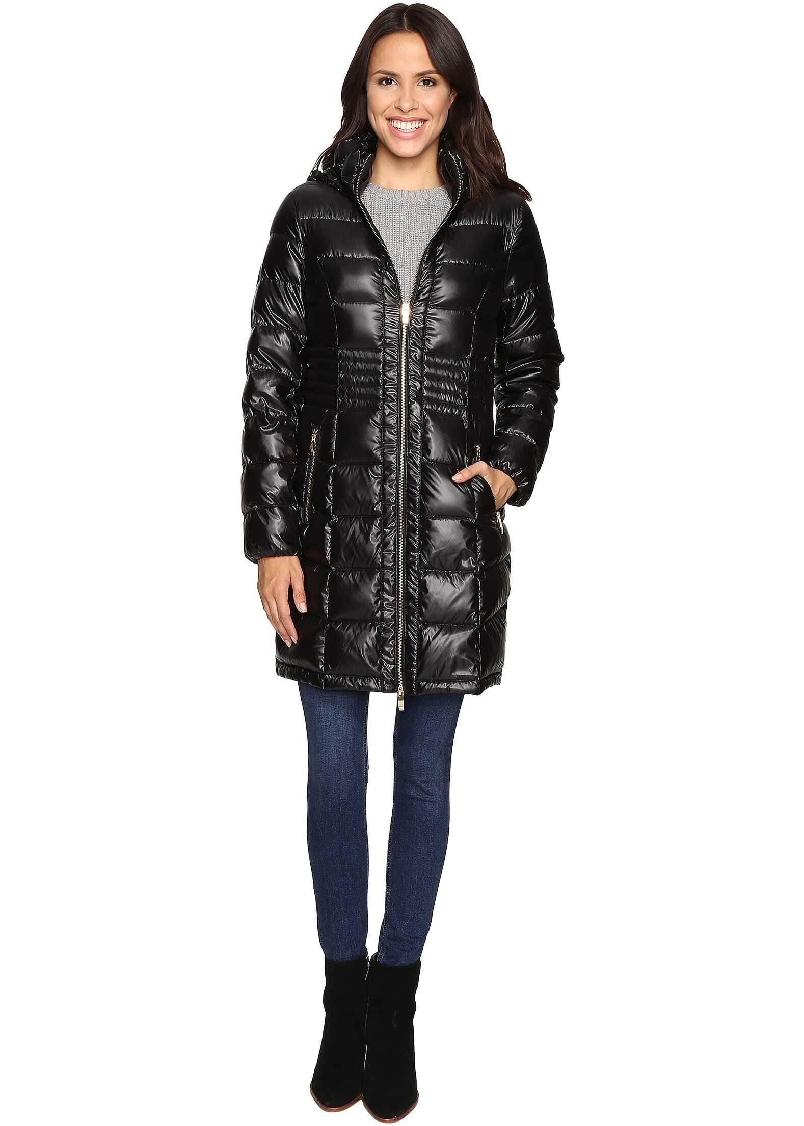 Via Spiga Metallic Hooded Packable Down Coat Black