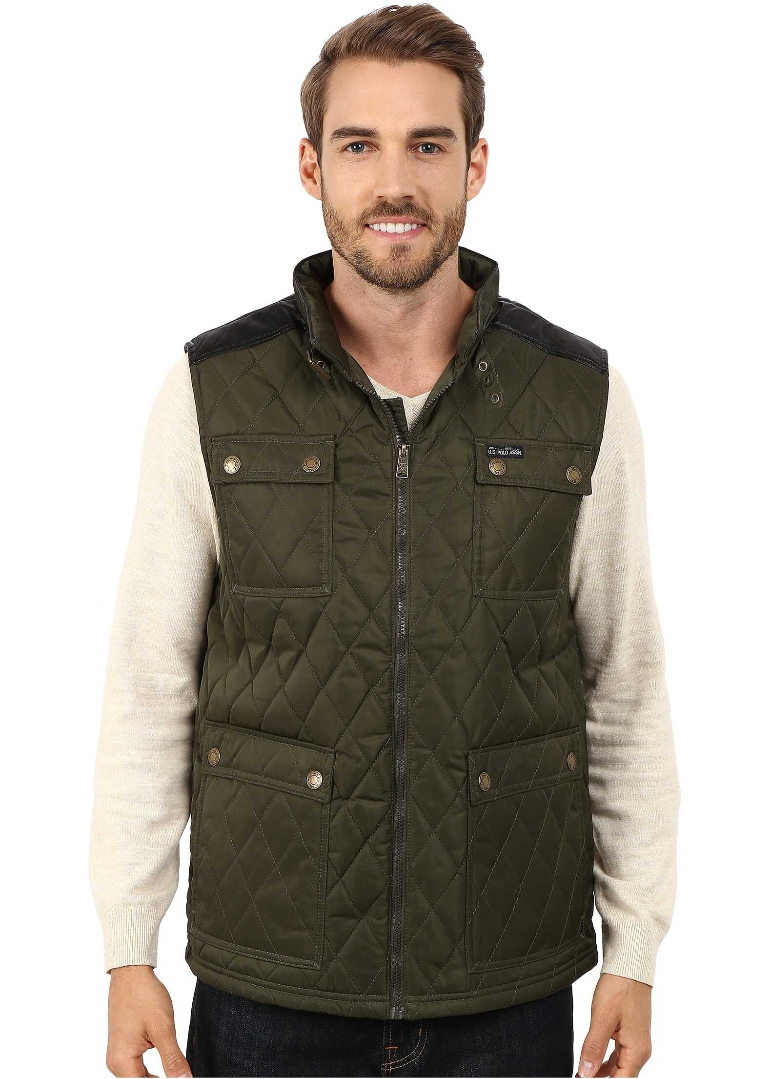 U.S. POLO ASSN. Quilted Vest with PU Yoke Forest Night