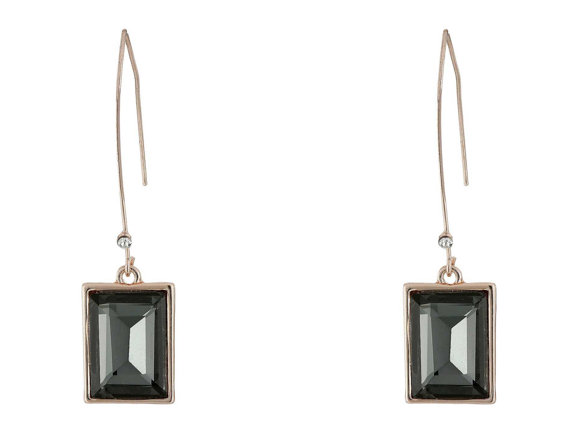 GUESS Emerald Cut Stone on Wire Drop Earrings Rose Gold/Black Diamond