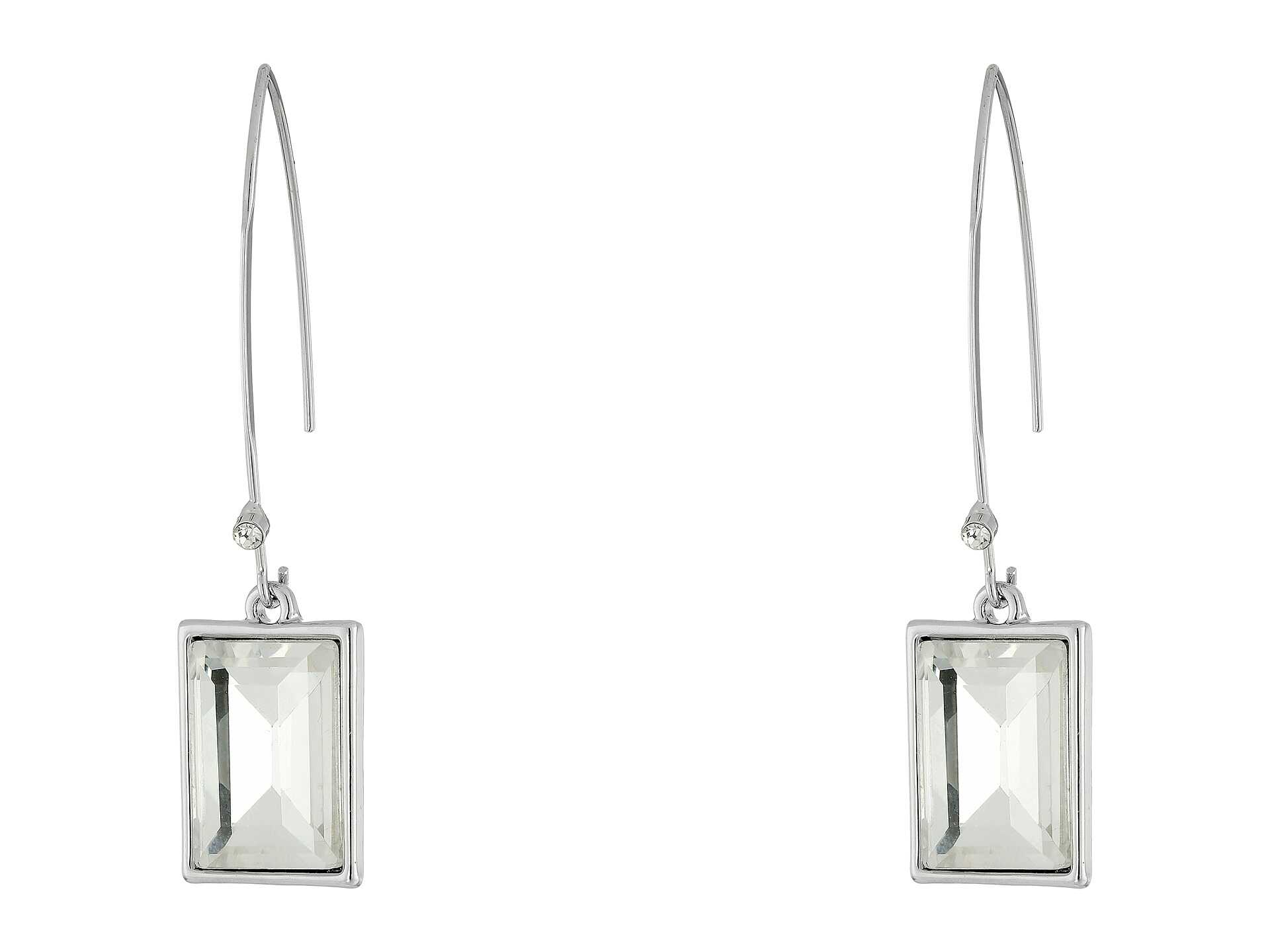 GUESS Emerald Cut Stone on Wire Drop Earrings Silver/Crystal