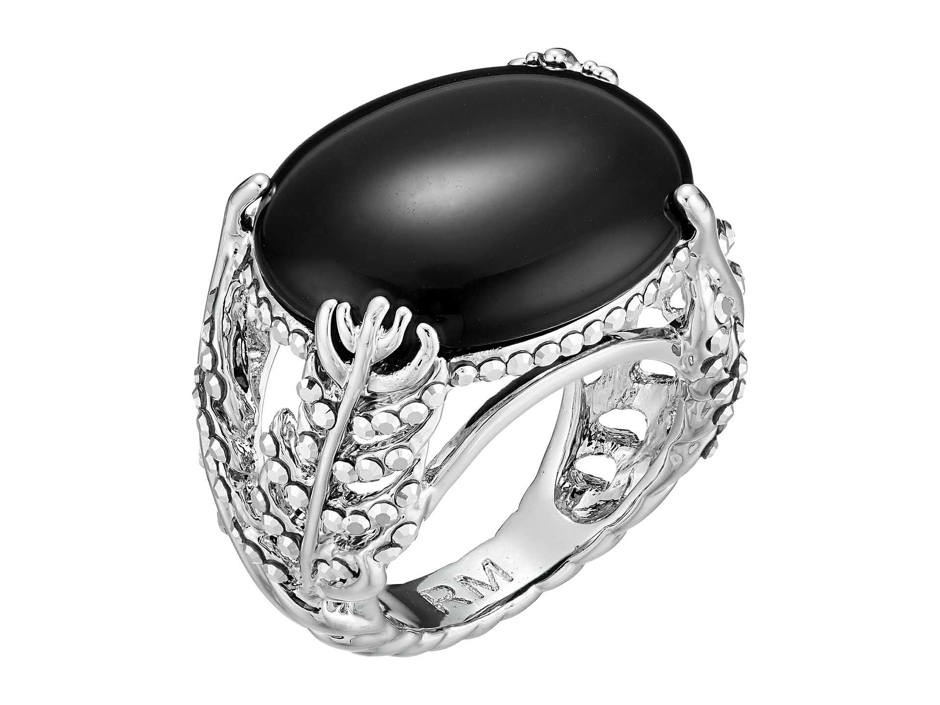 Rebecca Minkoff Feather Stone Ring Imitation Rhodium/Crystal Lab
