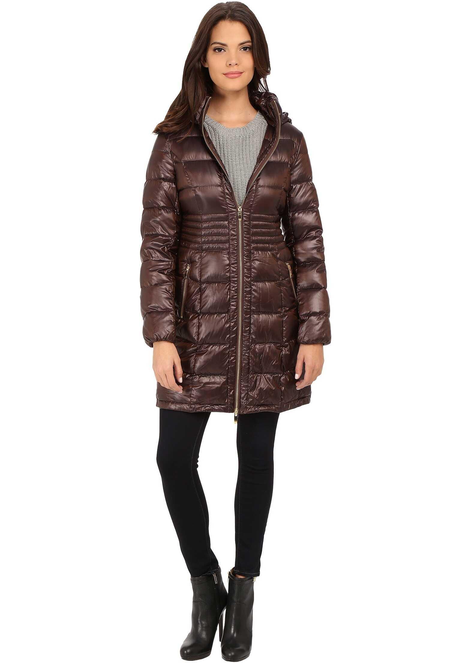 Via Spiga Hooded Packable Coat w/ Corset Waist Copper