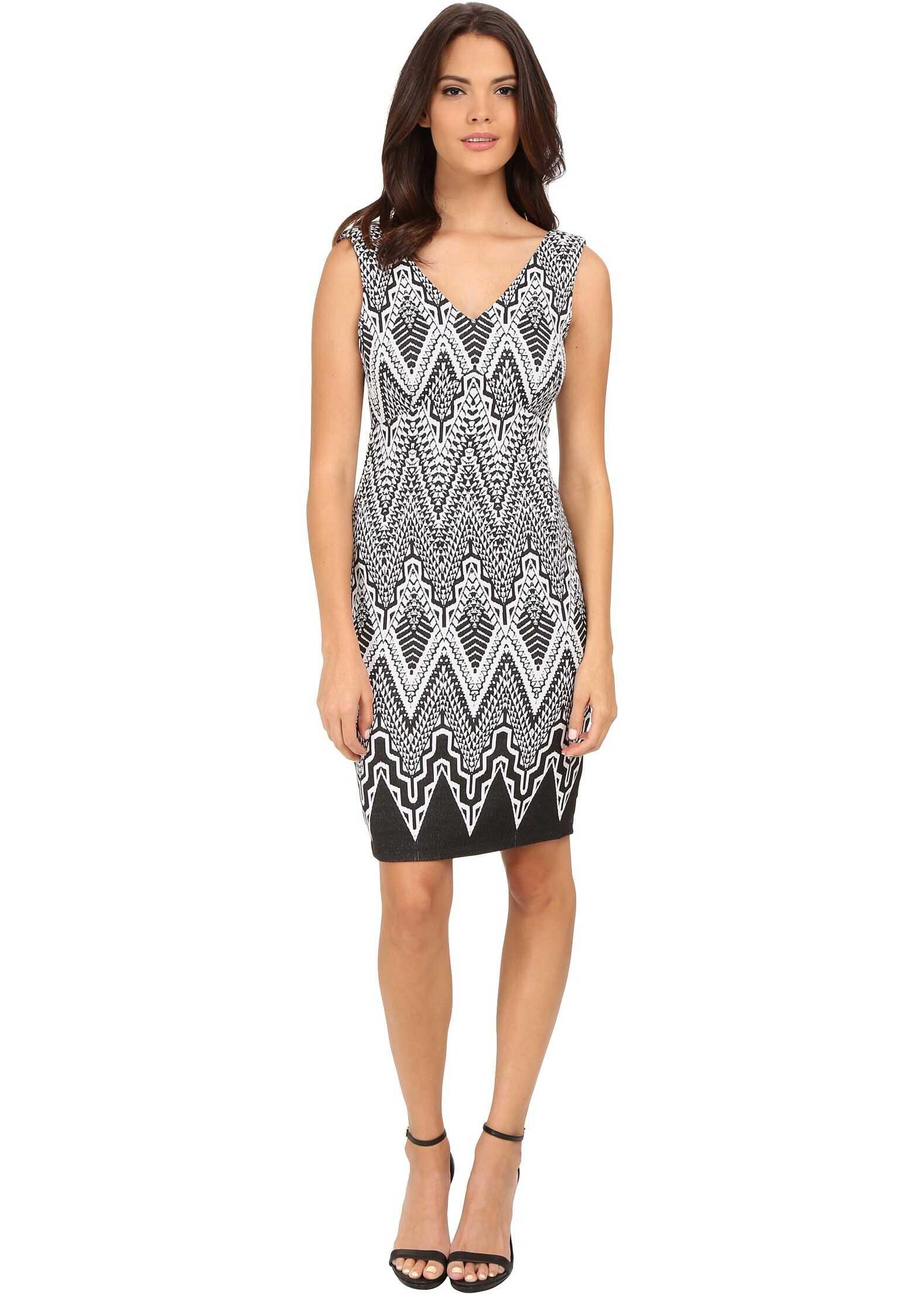 Calvin Klein V-Neck Printed Sheath Dress Black/Winter White