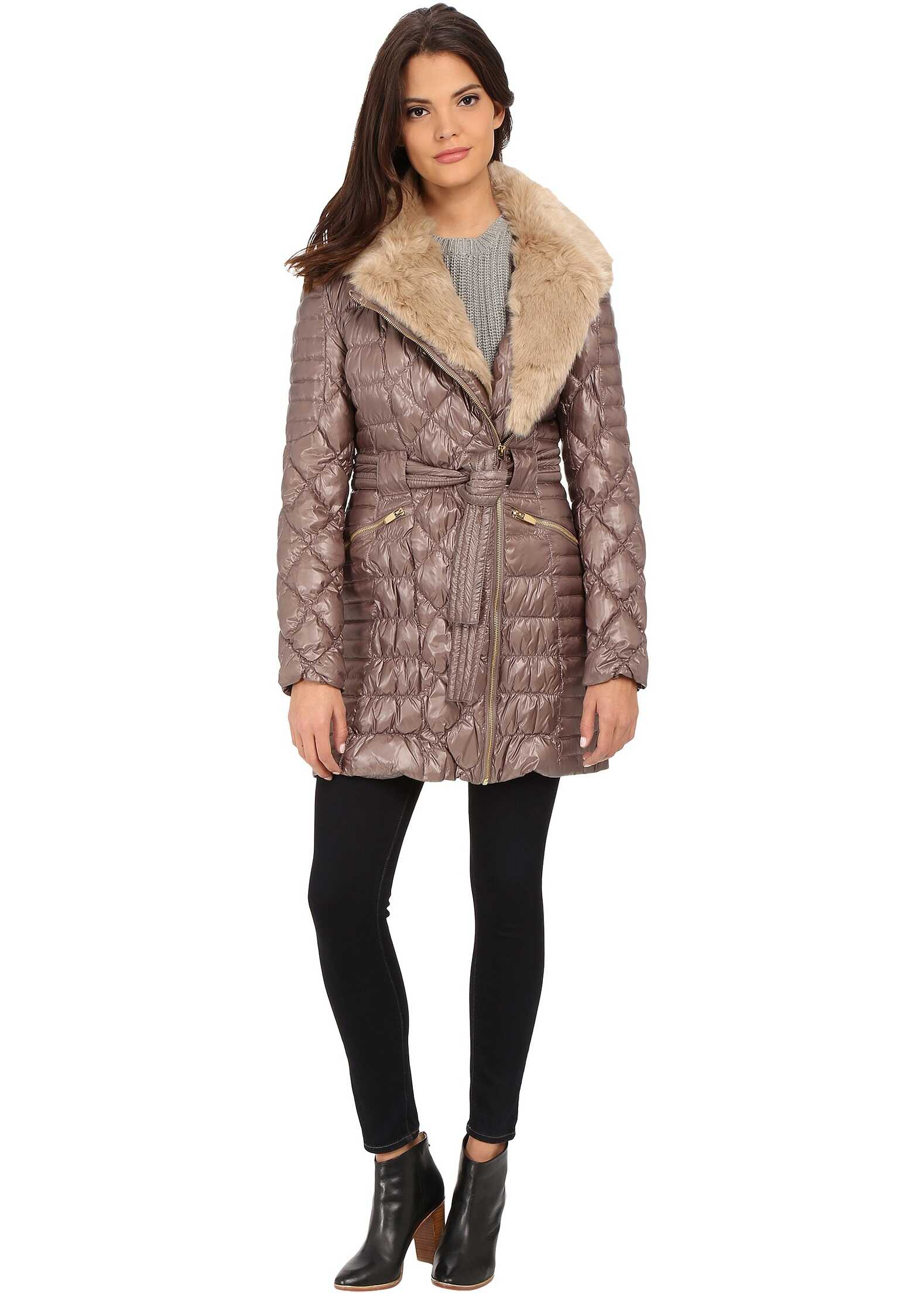 Via Spiga Kate Middleton Down Coat w/ Faux Fur Desert