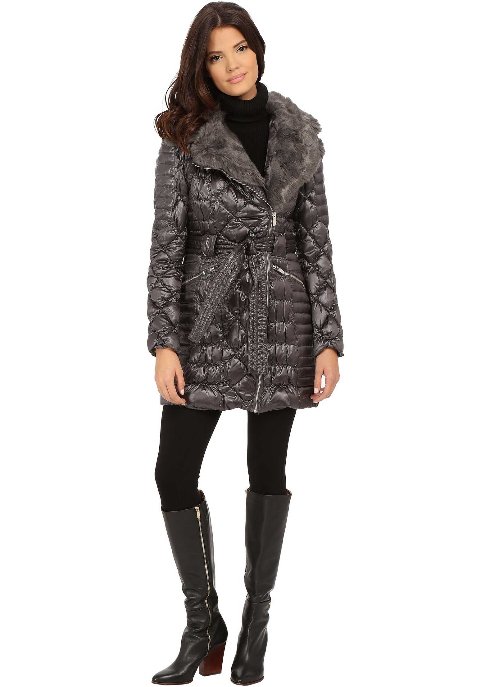 Via Spiga Kate Middleton Down Coat w/ Faux Fur Gunmetal