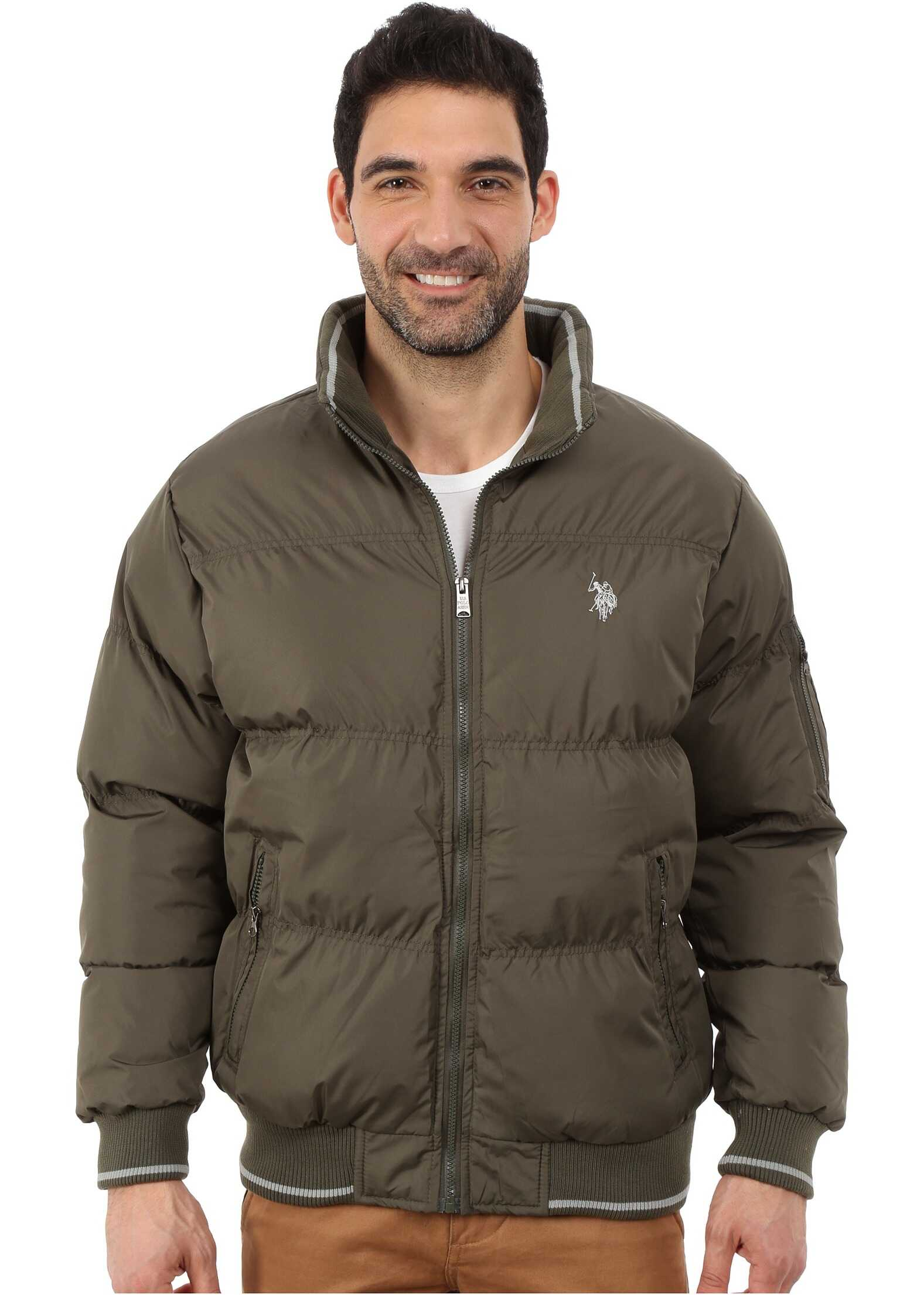 U.S. POLO ASSN. Puffer Jacket with Striped Rib Knit Collar Forest Night