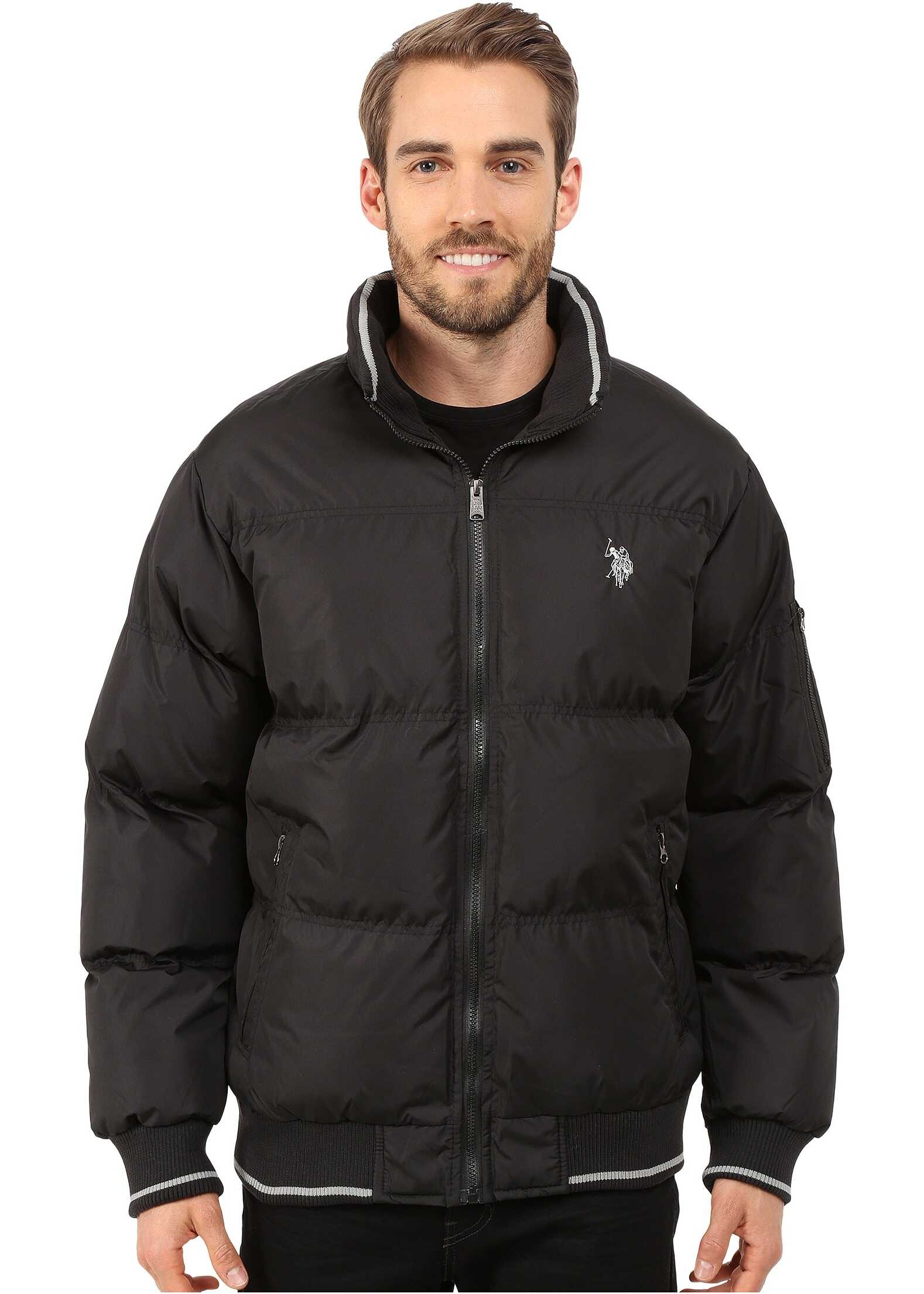 U.S. POLO ASSN. Puffer Jacket with Striped Rib Knit Collar Black