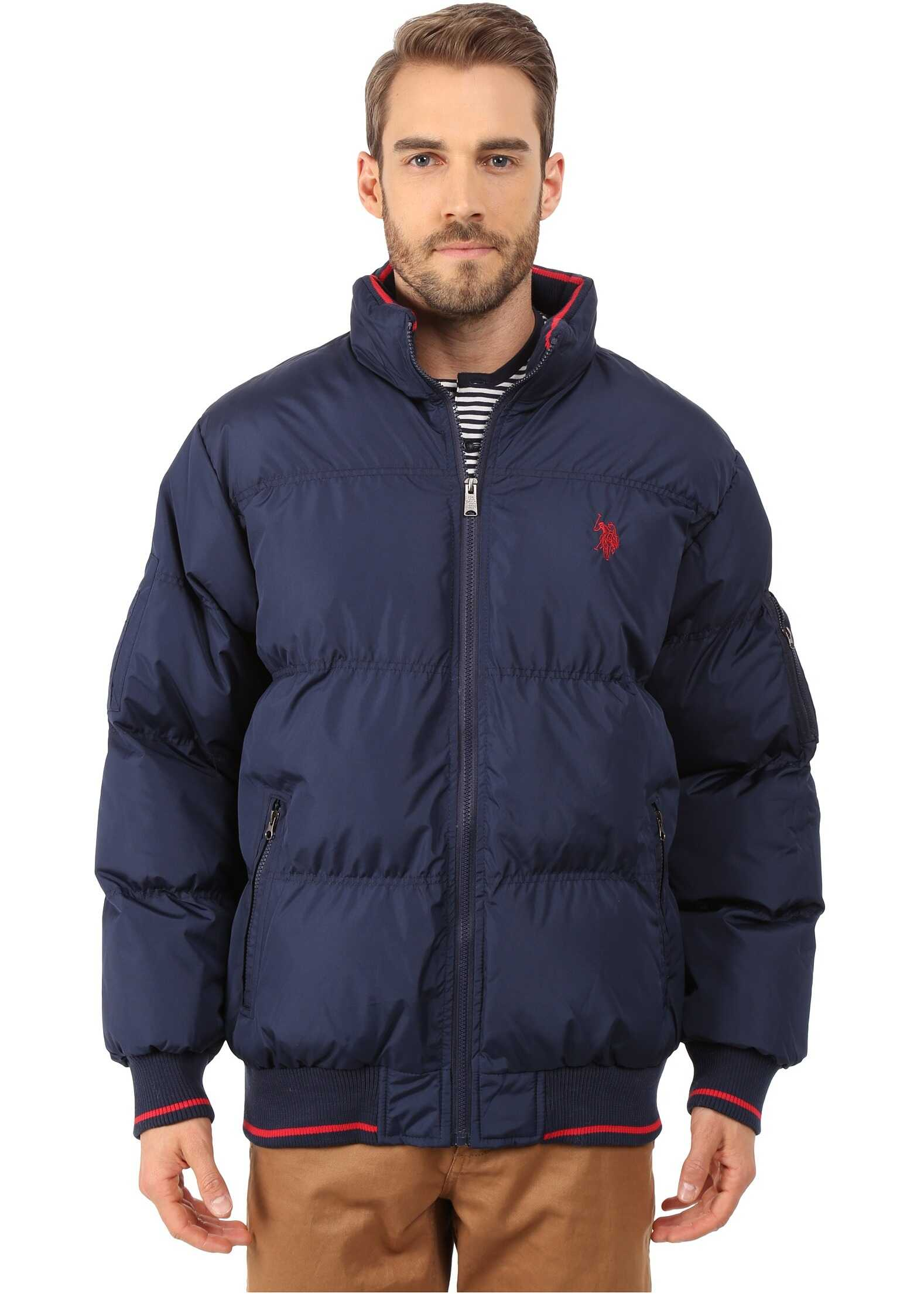 U.S. POLO ASSN. Puffer Jacket with Striped Rib Knit Collar Navy