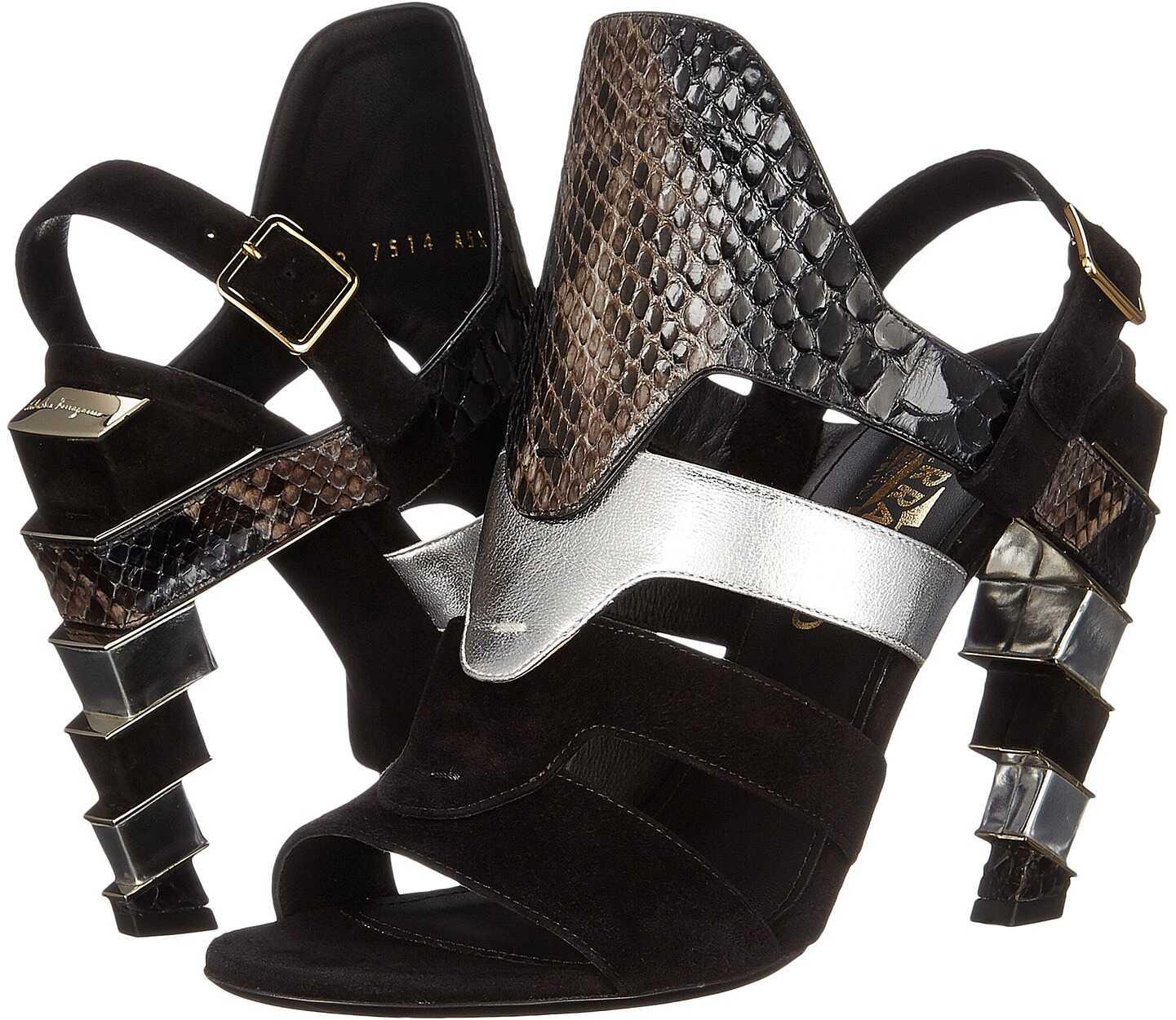 Salvatore Ferragamo Suede and Calfskin Sandal With Heel Nero Suede Calf