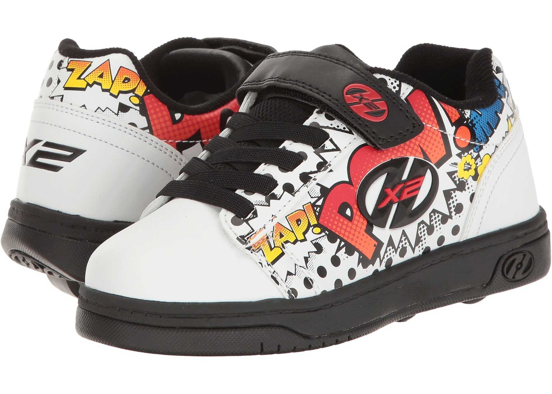 Heelys Dual Up X2 (Little Kid/Big Kid/Adult) White/Black/Multi Comic