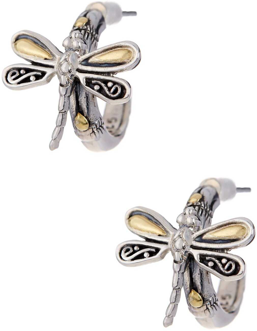 Phillip Gavriel 18K Yellow Gold & Oxidized Silver Dragonfly Earrings Yellow-White