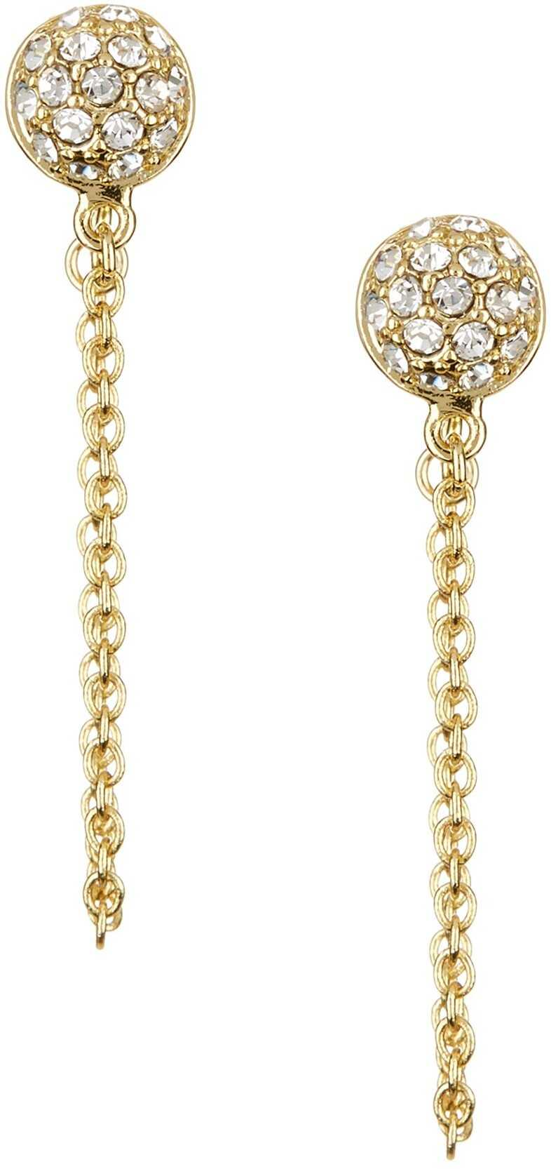 Ariella Collection Pave Circle Chain Stud Earrings CLEAR