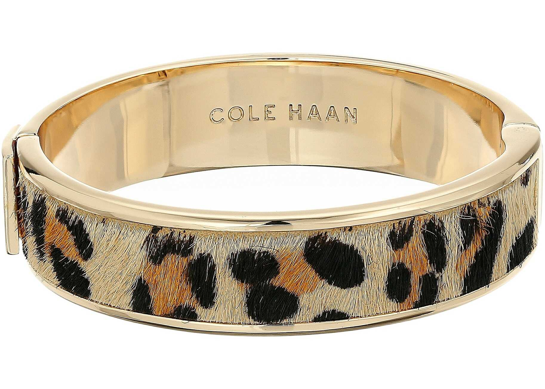Cole Haan Wide Hinged Leather Inlay Bangle Gold/Micro Cheetah Pony Hair