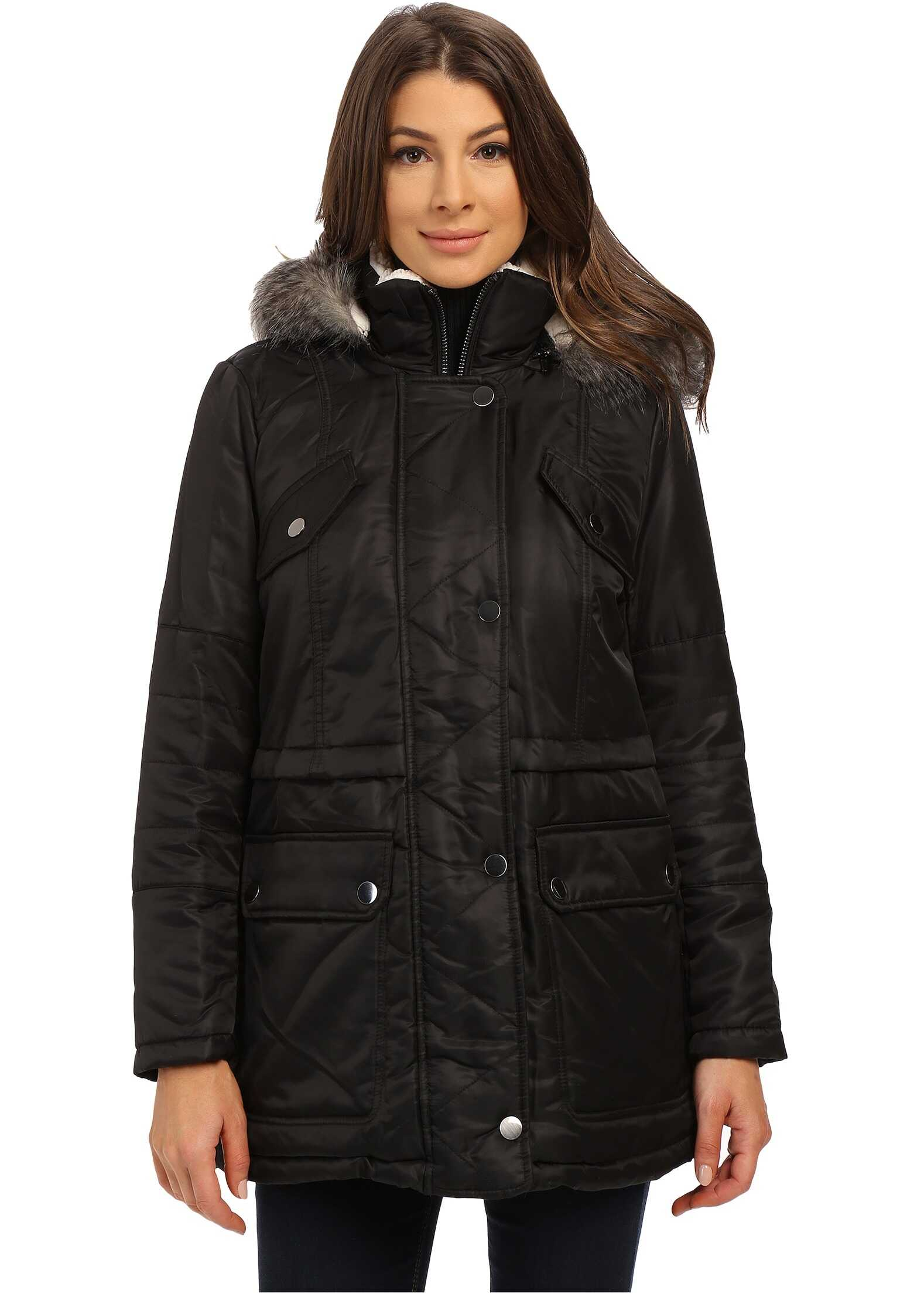 Kenneth Cole New York Hooded Parka with Faux Fur Trim & Sherpa Lining Black