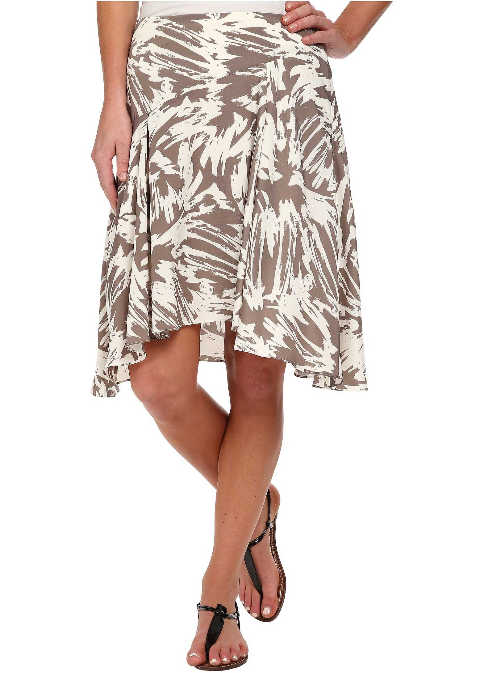 Vince Camuto Side Zip Asymmetrical Flounce Floral Burst Skirt* White Clay