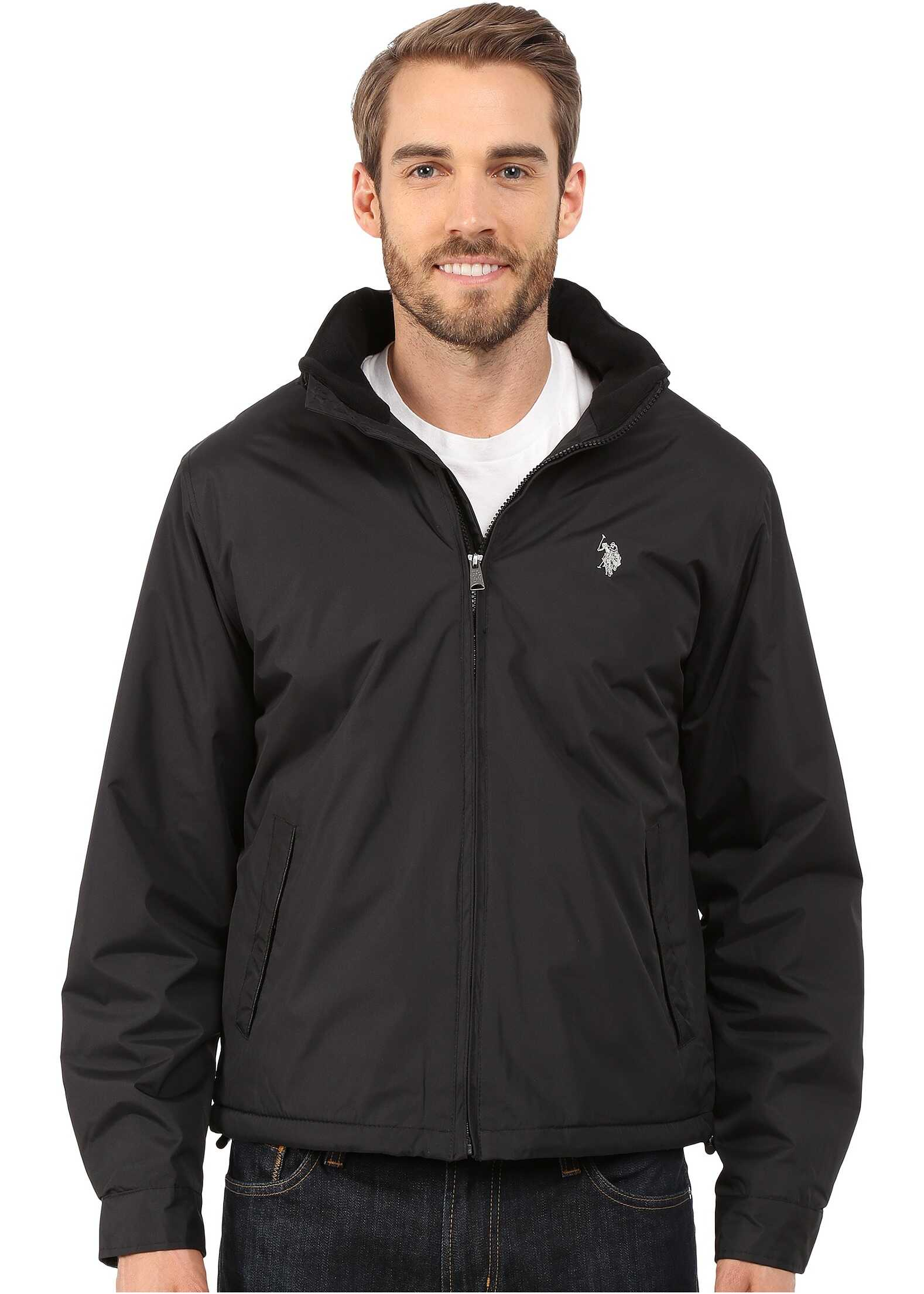 U.S. POLO ASSN. Mock Neck Jacket Polar Fleece Lined Black