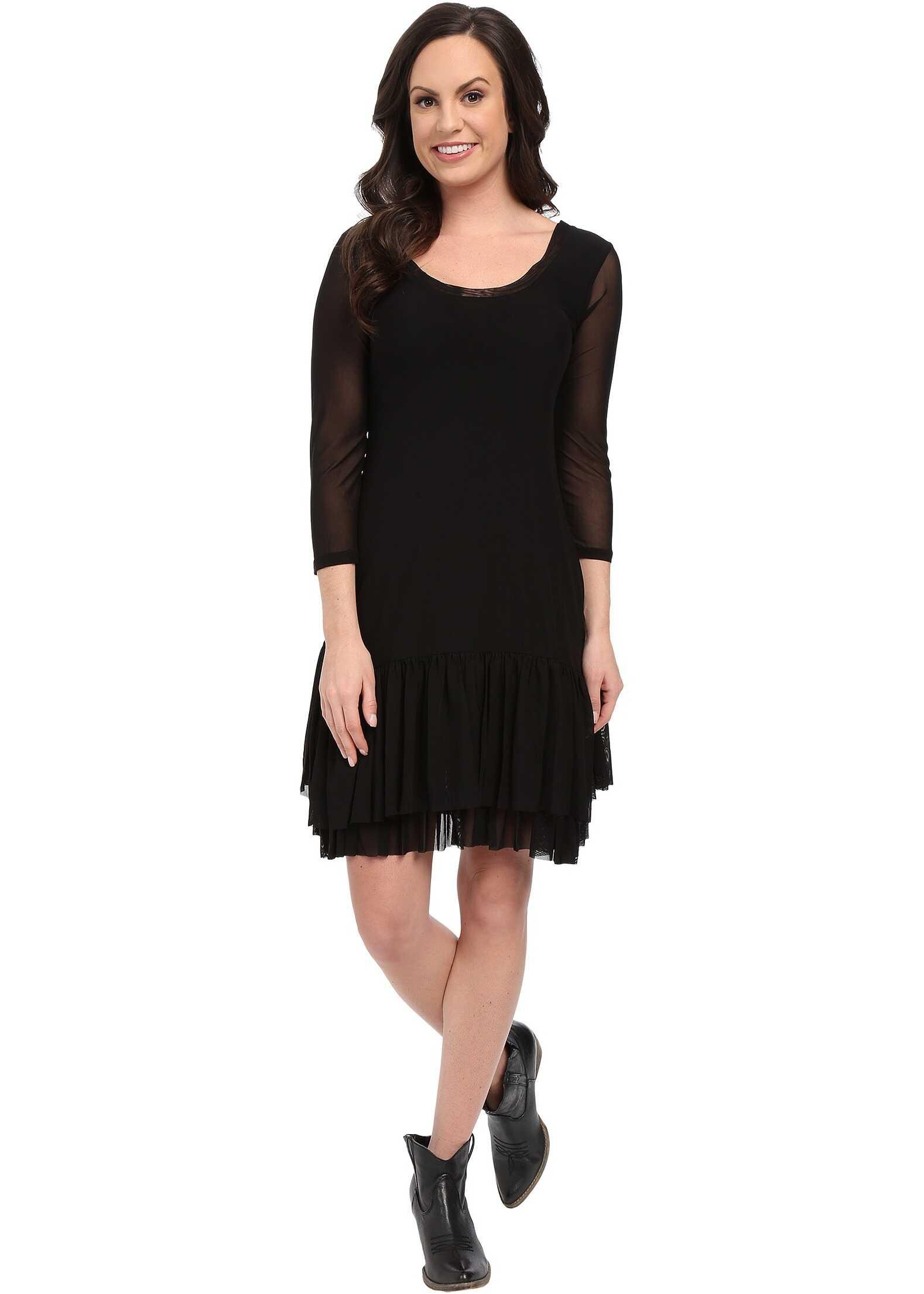 Roper 9922 Solid Stretch Mesh Flounced Dress Black