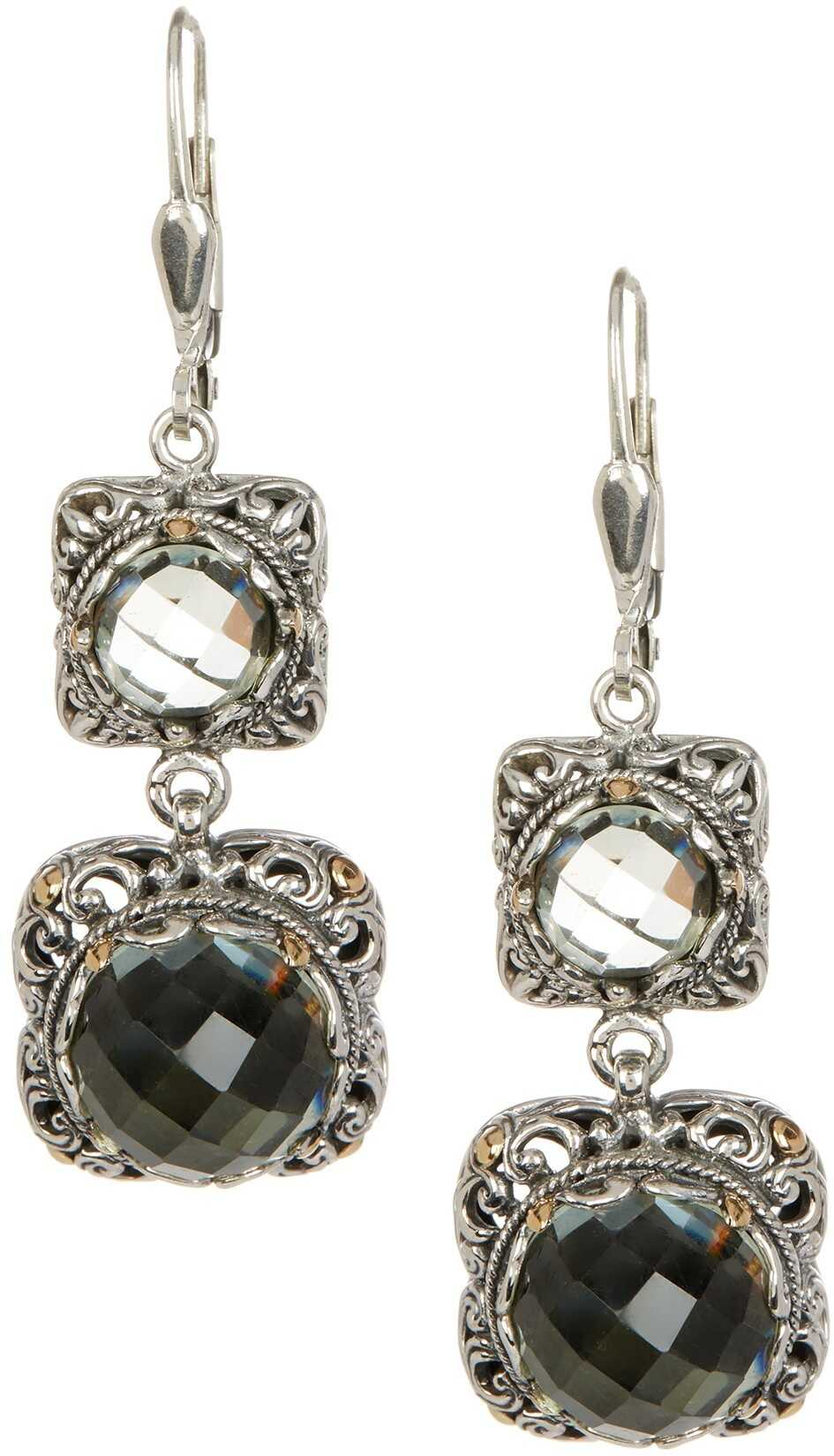 Phillip Gavriel 18K Yellow Gold & Oxidized Silver Green Amethyst Drop Earrings Yellow-White