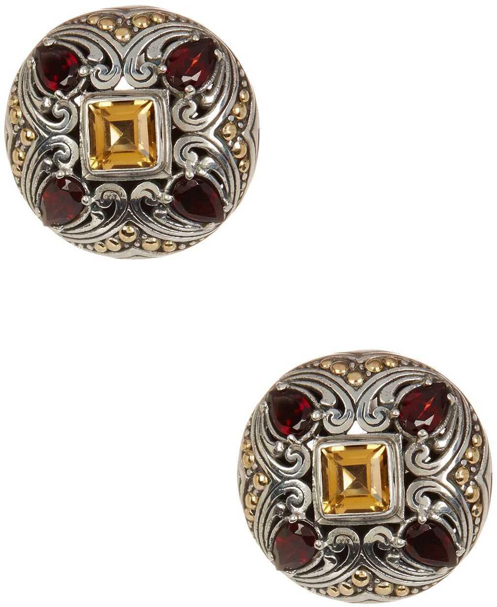 Phillip Gavriel 18K Yellow Gold & Oxidized Silver Garnet & Citrine Earrings Yellow-White