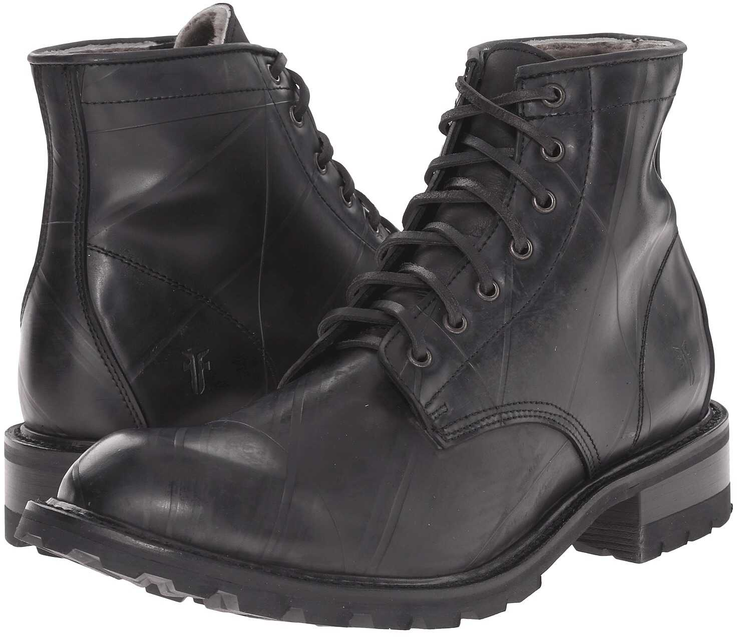 Frye Arkansas Rubber Lace Up Black Recycled Rubber/Shearling Lined