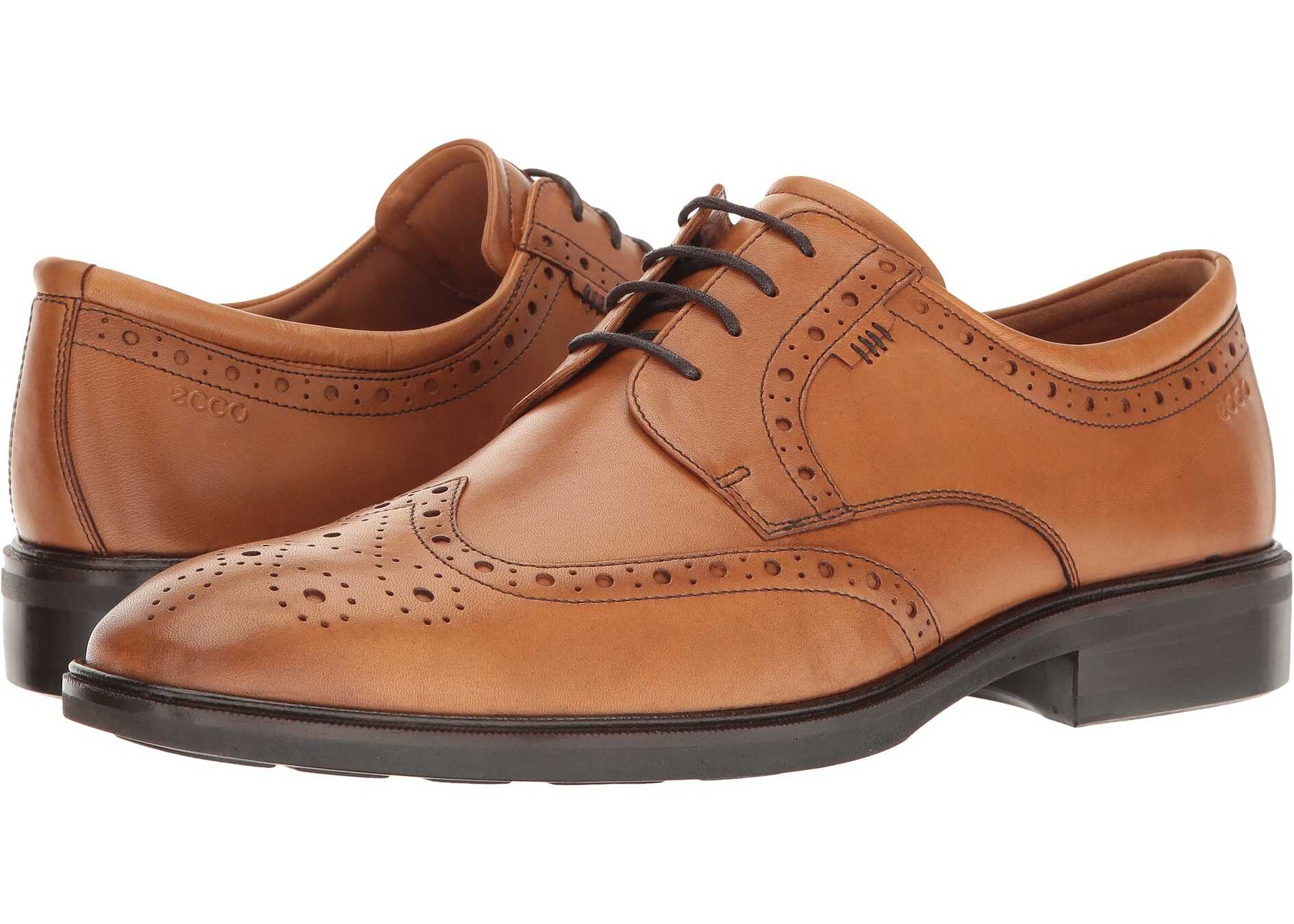 ECCO Illinois Wing Tip Tie Amber