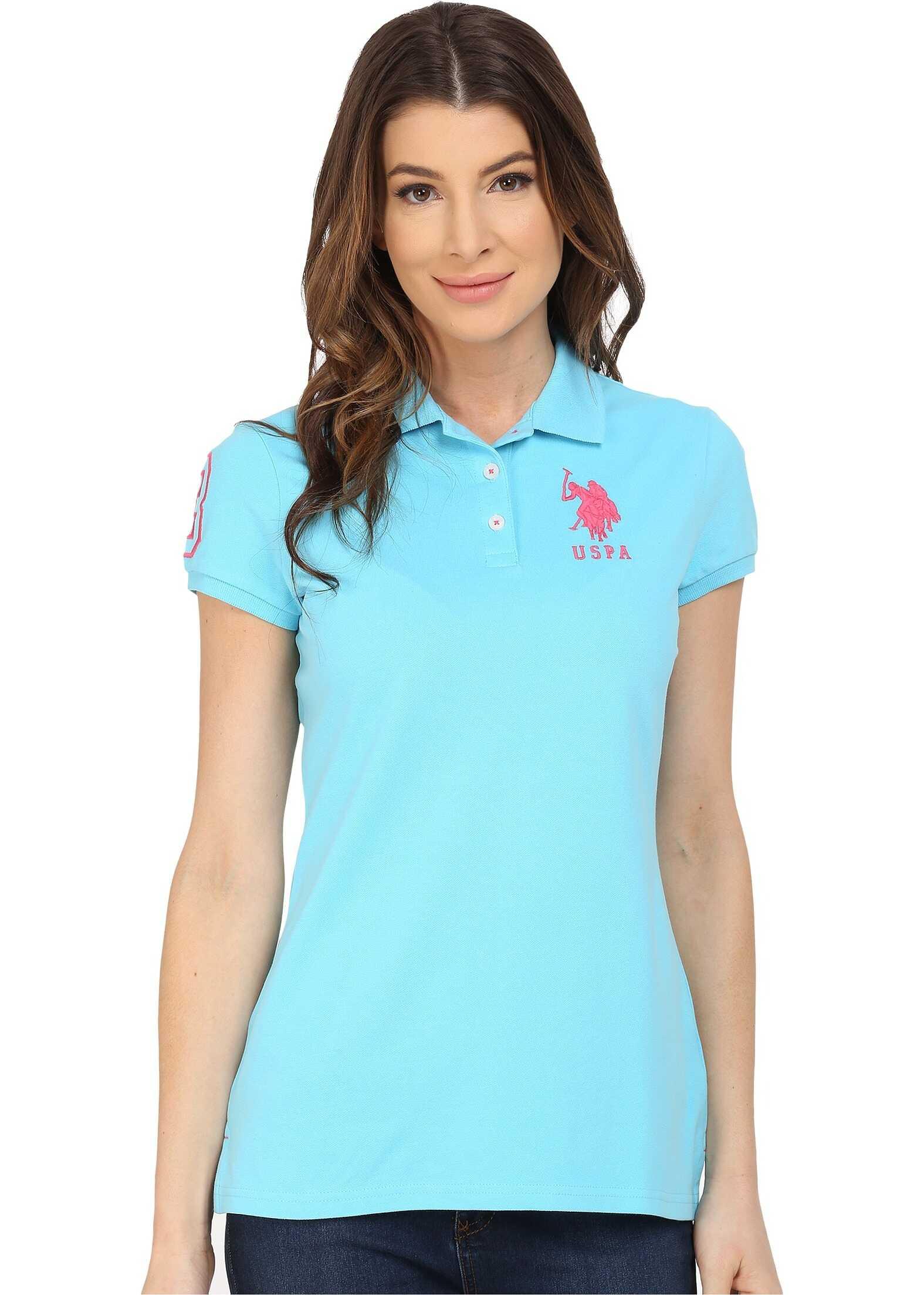 U.S. POLO ASSN. Neon Logos Short Sleeve Polo Shirt Bachelor Button