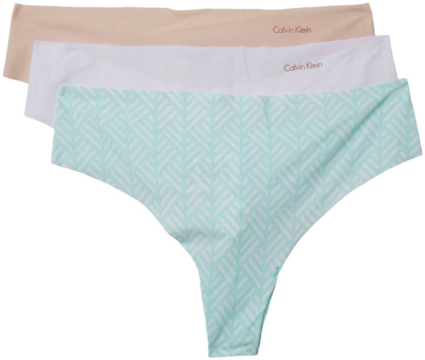 Calvin Klein Underwear Invisibles 3-Pack Thong Sheer Blush/White/Chevron Stripe