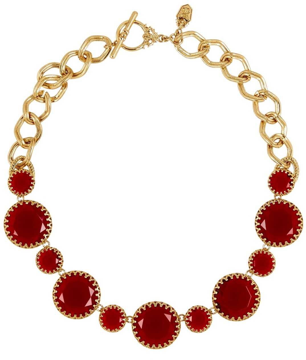 LAUREN Ralph Lauren Stone Bib Necklace GOLD RED
