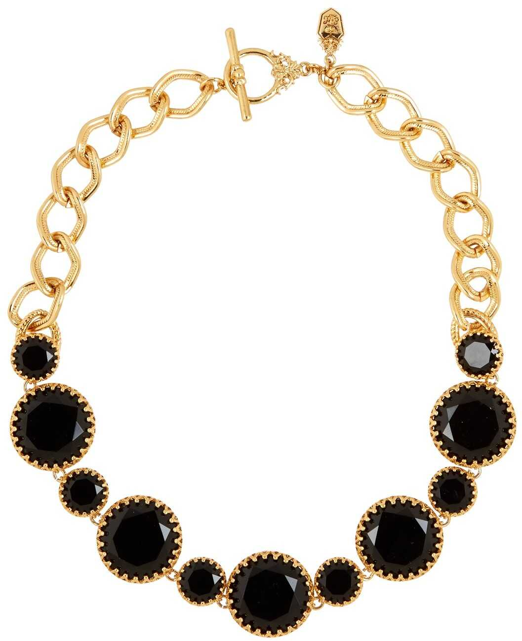 LAUREN Ralph Lauren Stone Bib Necklace GOLD JET