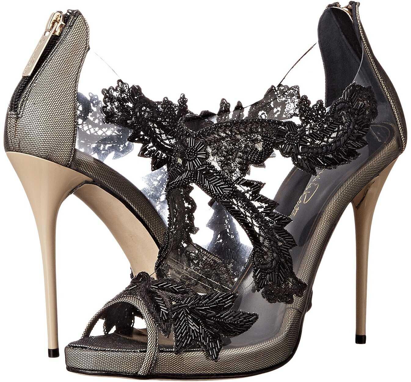 Oscar de la Renta Ambria 115mm Beige/Black Patent Leather