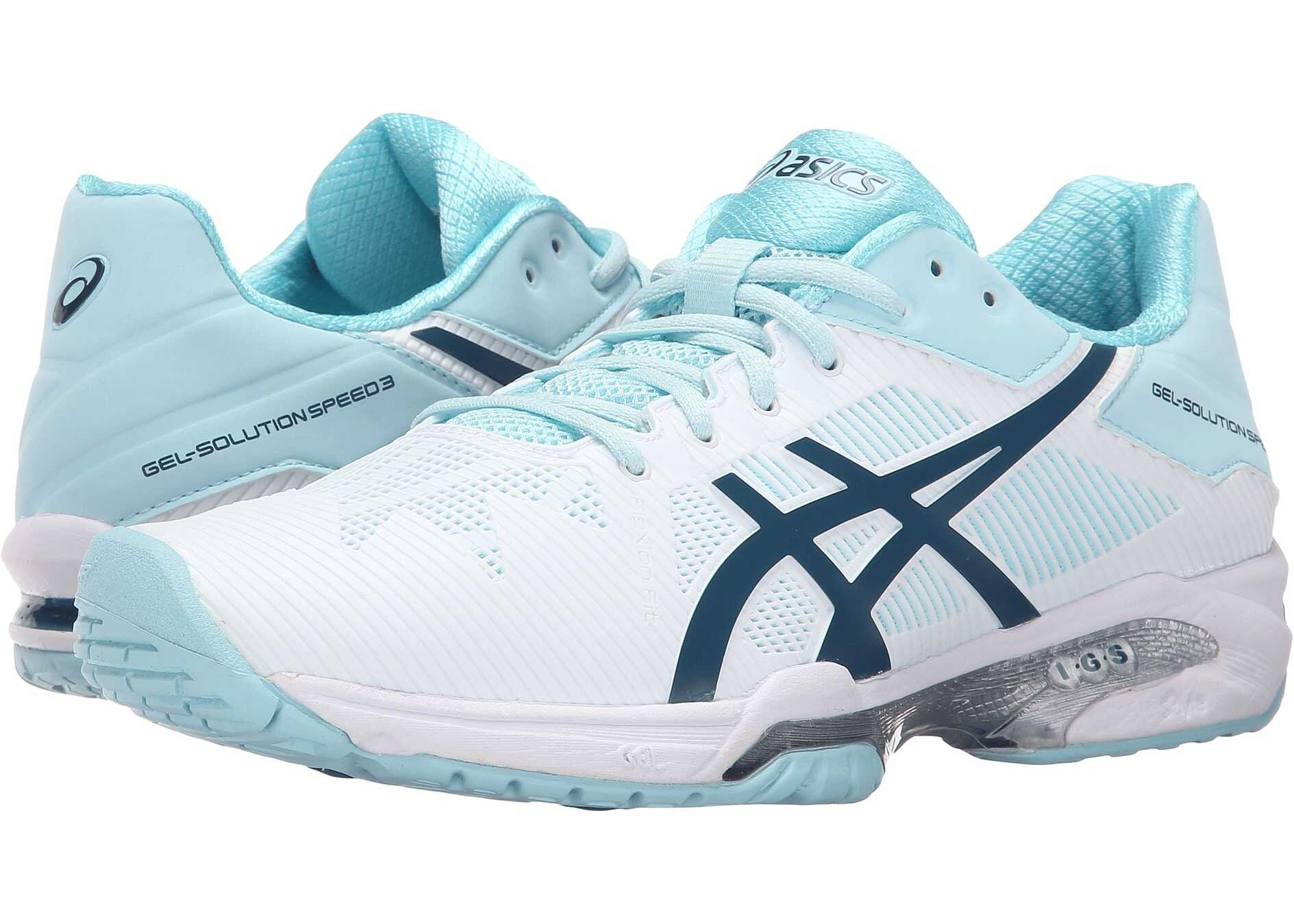 ASICS Gel-Solution® Speed 3 White/Blue Steel/Crystal Blue