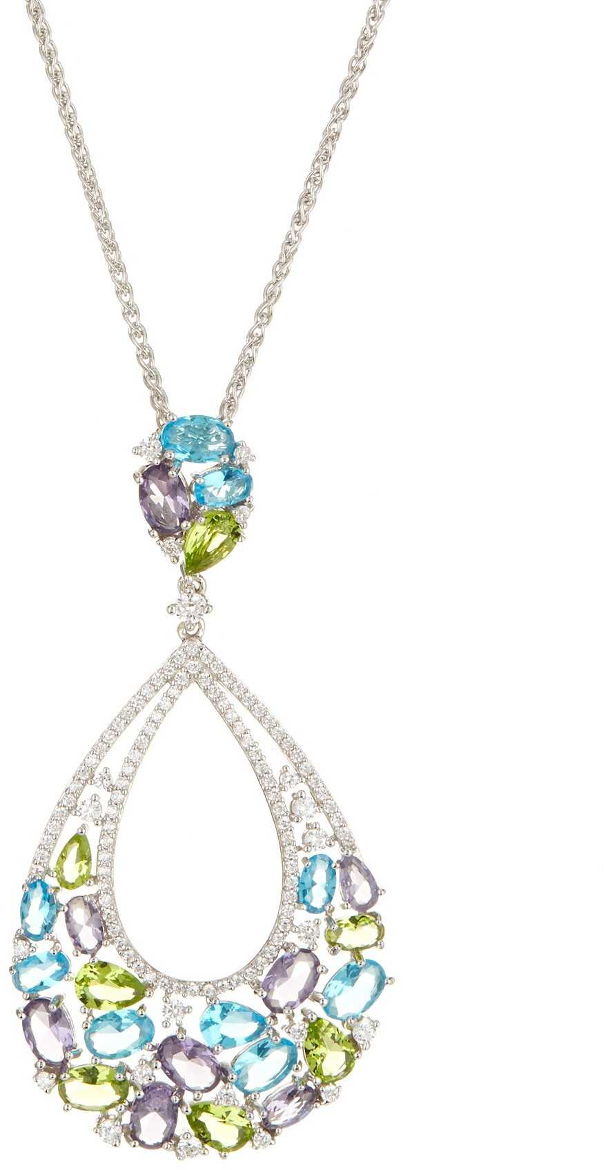 Savvy Cie Oversized Semi Precious Stone Pendant Necklace silver-blue-green-purple