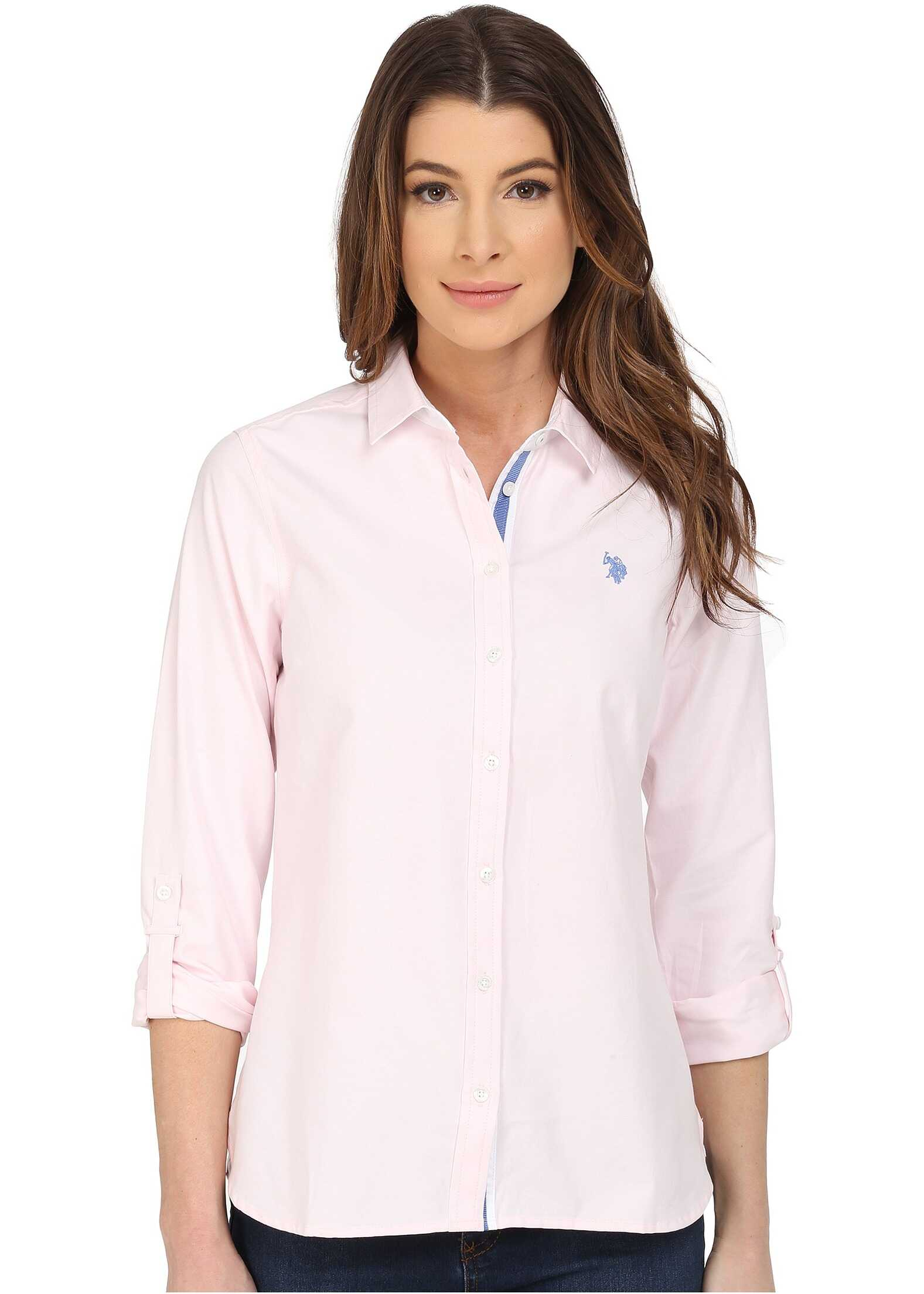 U.S. POLO ASSN. Long Sleeve Solid Oxford Shirt Classic Pink