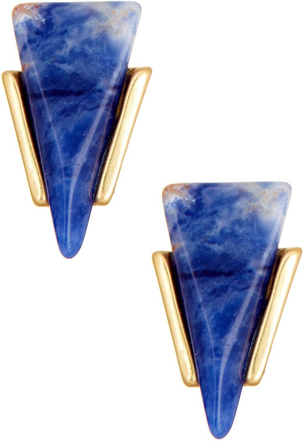 Cara Accessories Triangle Stone Stud Earrings GLD-BLUE