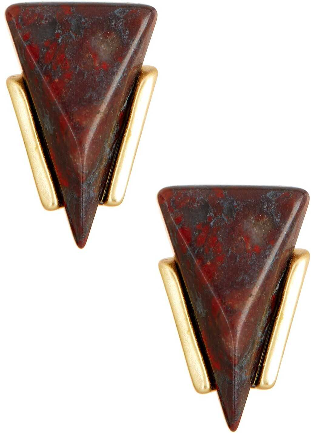 Cara Accessories Triangle Stone Stud Earrings GLD-RED