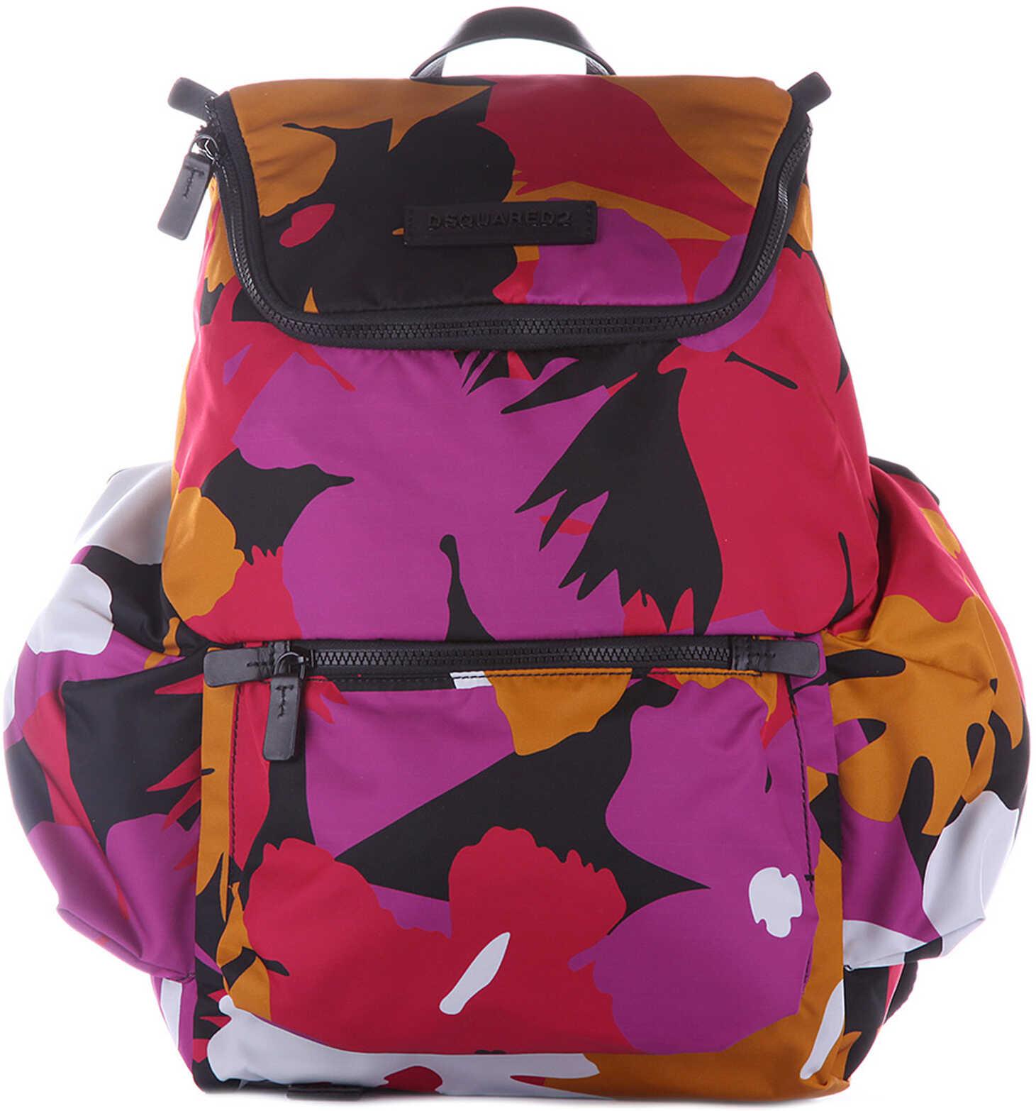 DSQUARED2 Nylon Backpack Hero Flower Pink
