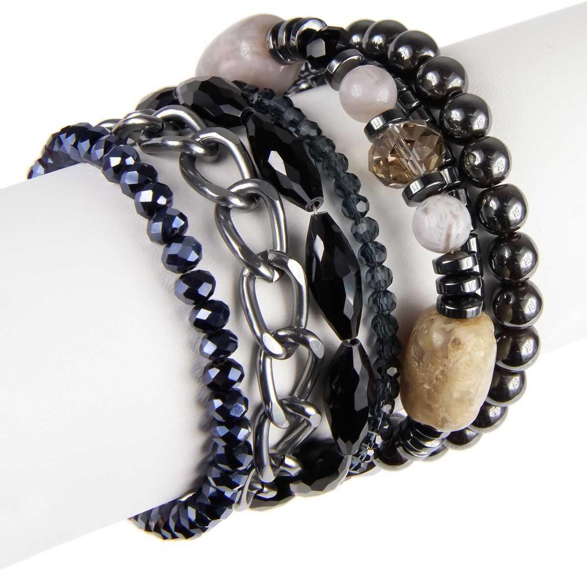 Saachi Gunmetal Arm Candy Layered Bracelet No Color