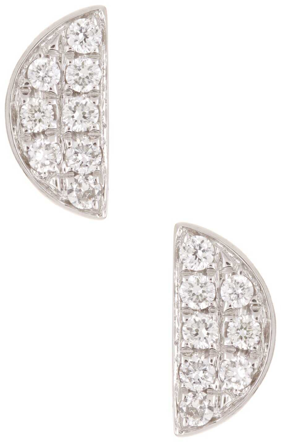 Bony Levy 18K White Gold Pave Diamond Half Moon Earrings - 0.07 ctw 18KWG