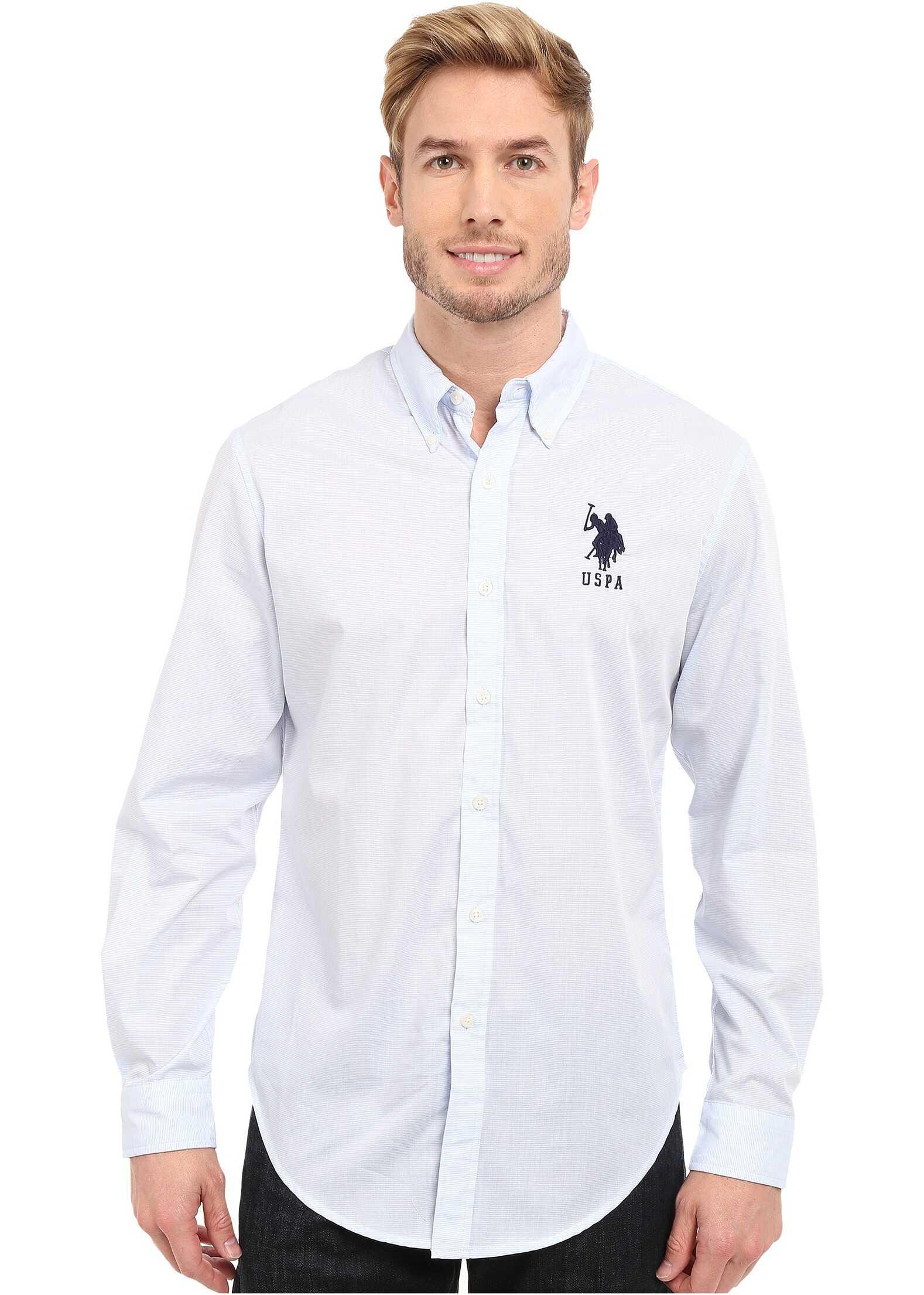 U.S. POLO ASSN. Slim Fit Striped Oxford Button Down Shirt Vista Blue