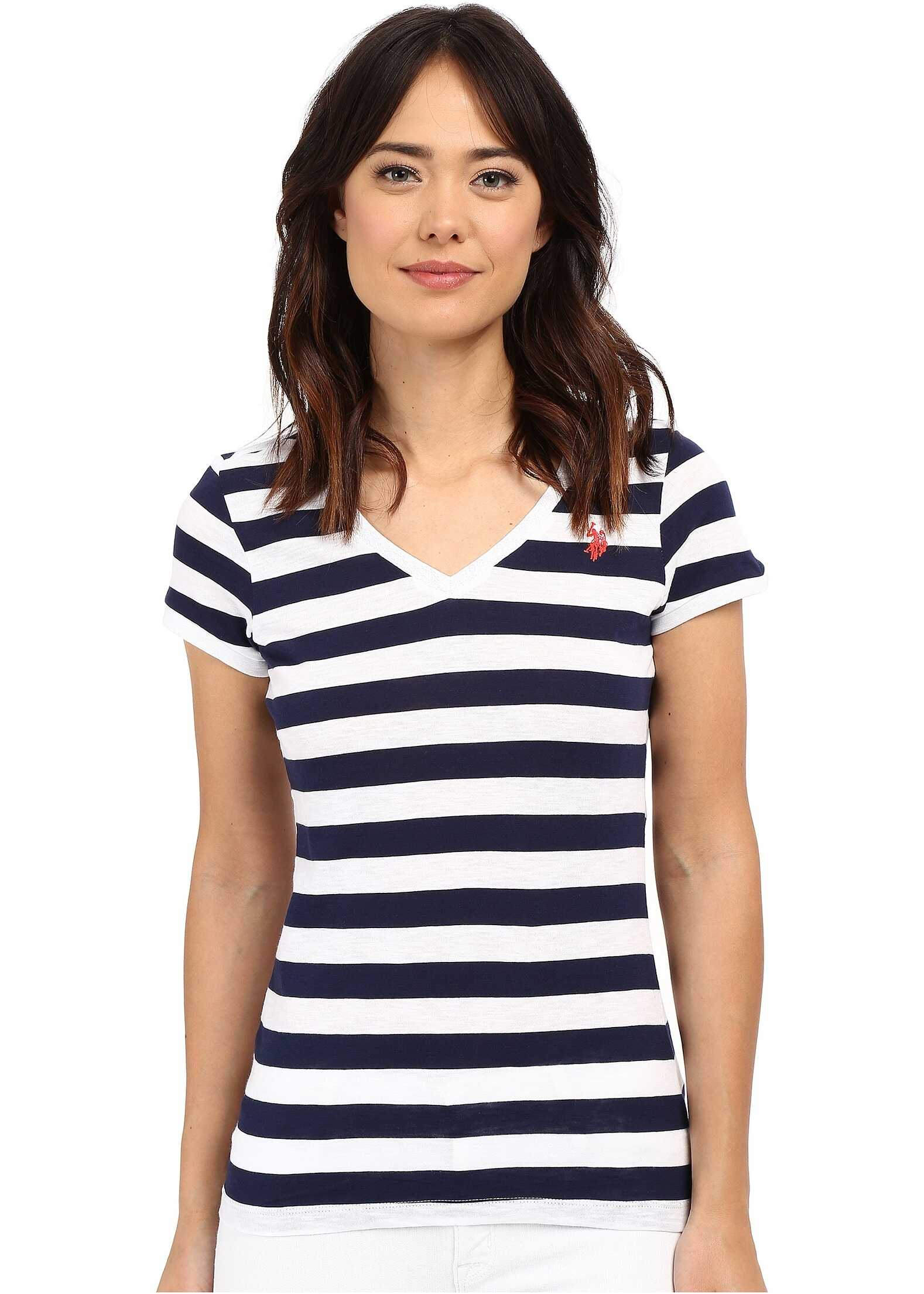 Lace Trim V-Neck T-Shirt