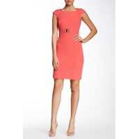 Rochii Cap Sleeve Notch Neck Sheath Dress* Femei