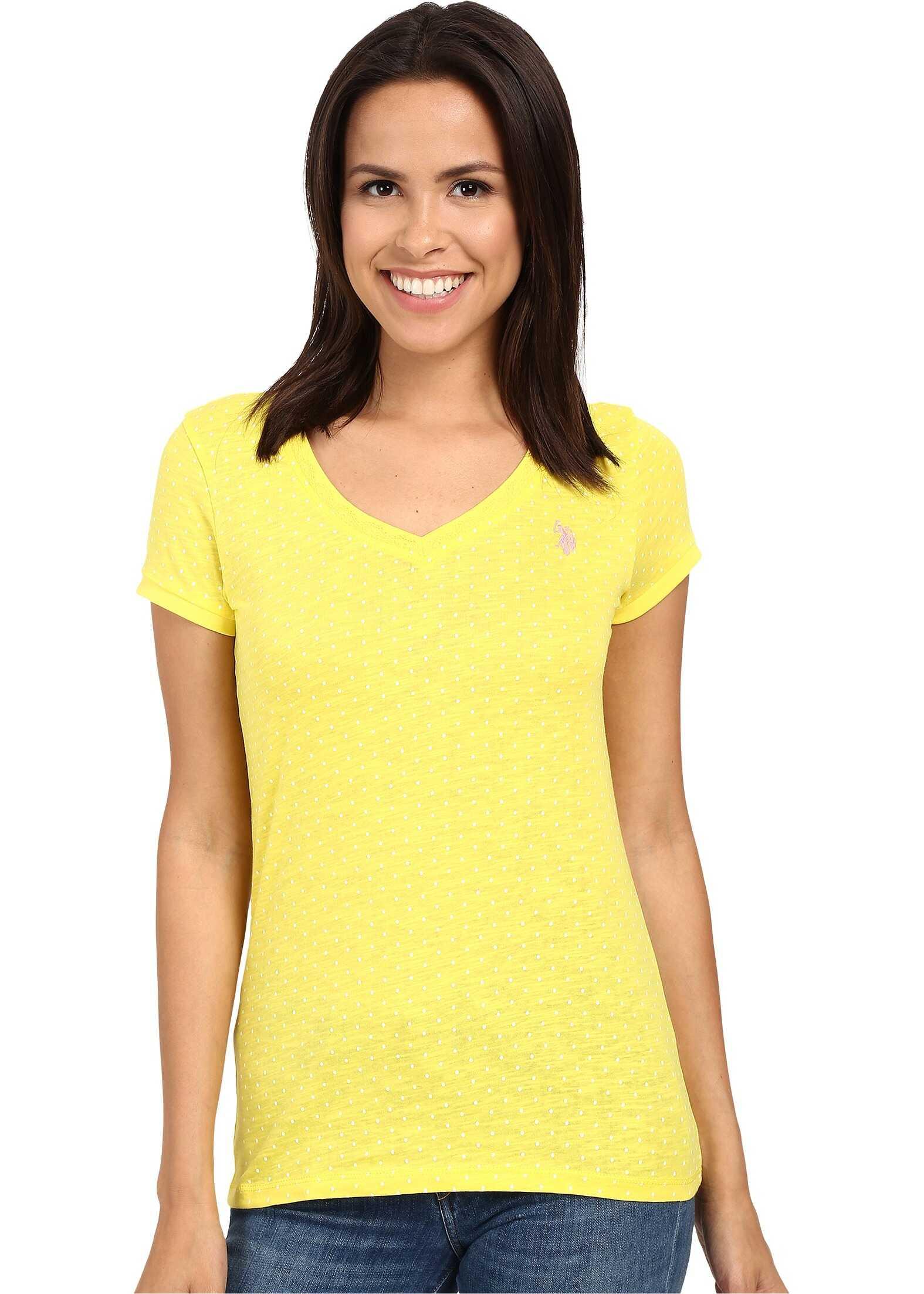 U.S. POLO ASSN. Polka Dot Lace Trim V-Neck T-Shirt Buttercup