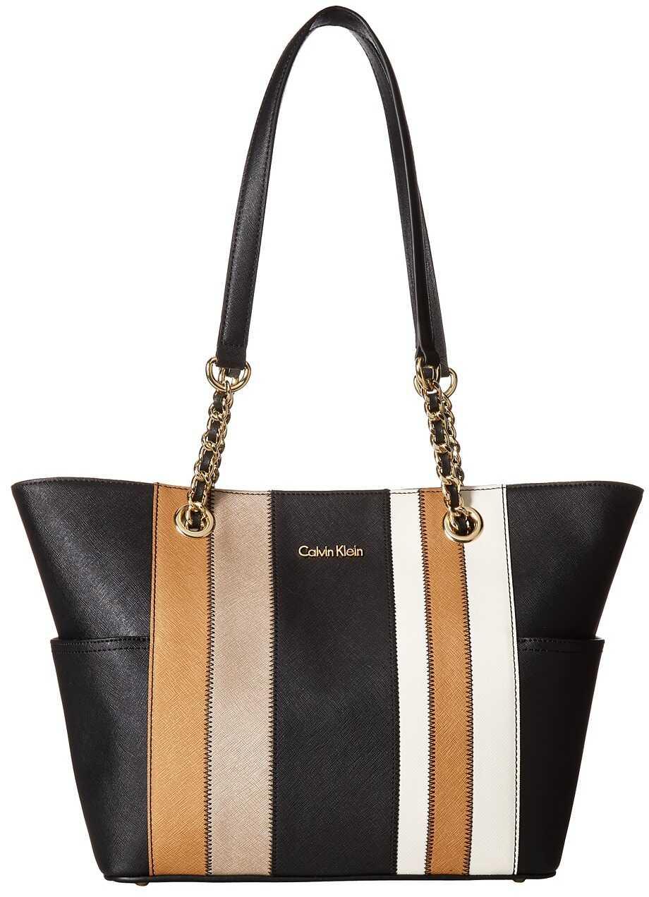Calvin Klein Key Item Saffiano Leather Tote Metallic Combo 1