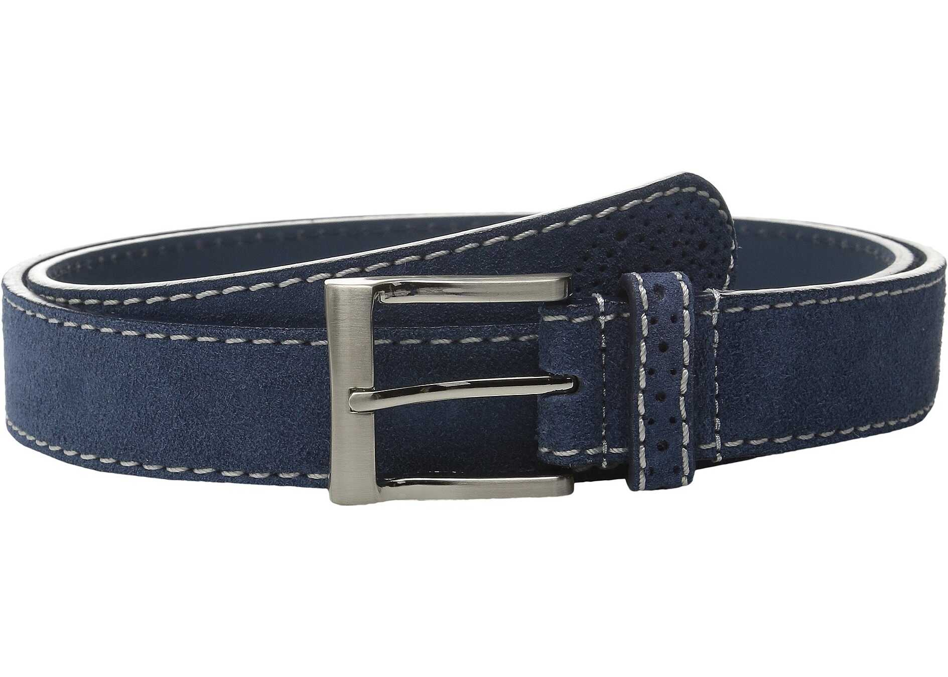 Florsheim 32mm Suede Leather Belt Navy