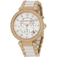 Ceasuri Fashion Parker Chronograph Rose Gold-tone and White Acetate Femei