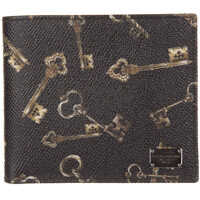 Portofele Leather Wallet Credit Card Bifold Keys Print Barbati